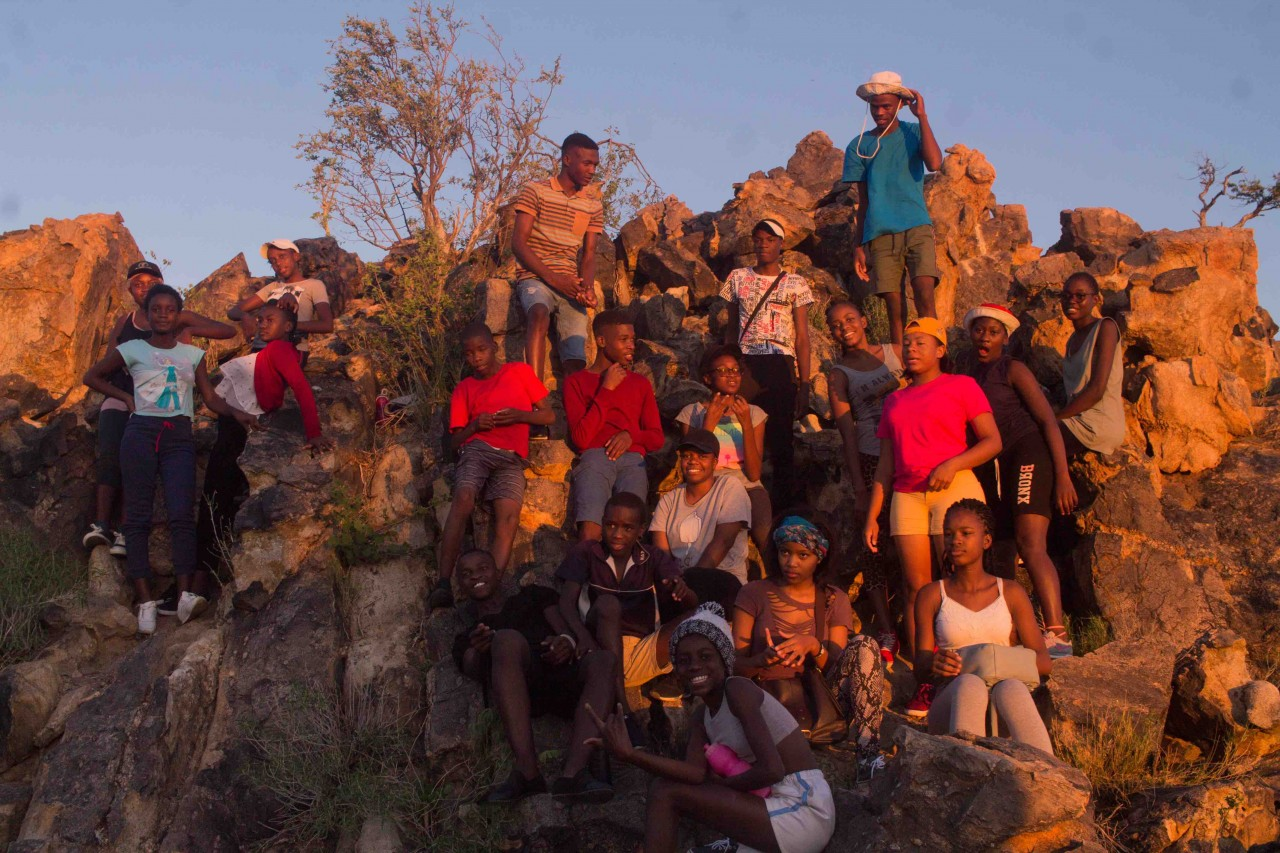 Group photo on Prayer Hill, Rock Lodge Okahandja.